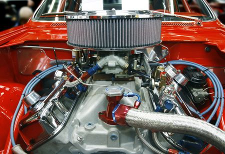 car part: Highly customized car engine in a rebuilt muscle car - all copyright materials removed