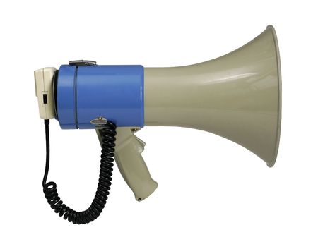 Retro electronic megaphone isolated on white with clipping path - clipping path is carefully hand-drawn