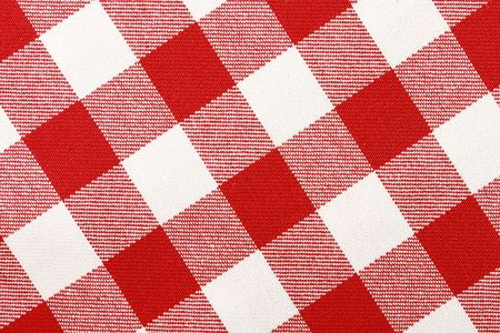 Close-up of classic red picnic cloth - The tablecloth is new, clean and flat photo