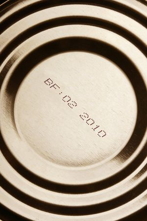 canned food: Close-up of canned food with expiration date