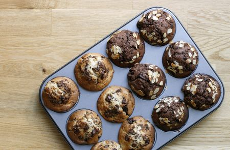 Delicious and freshly made muffins photo