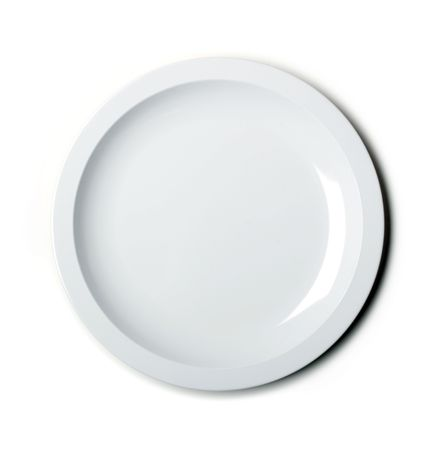 Empty white plate isolated on white - lit with a softbox