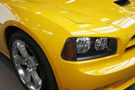Close-up of a new modern muscle car Stock Photo