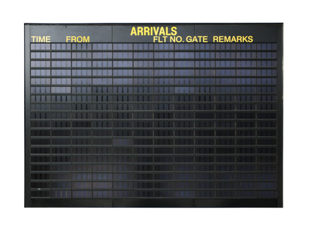 arrival departure board: Blank airport board isolated on white background