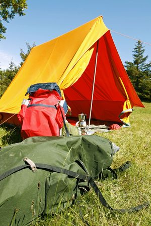 Beautiful and natural camping site on a bright summer day Stock Photo