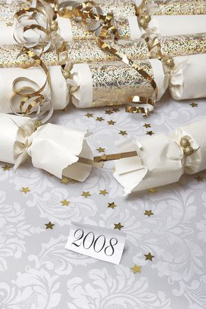 solver: Festive party crackers with a 2008 note  Stock Photo