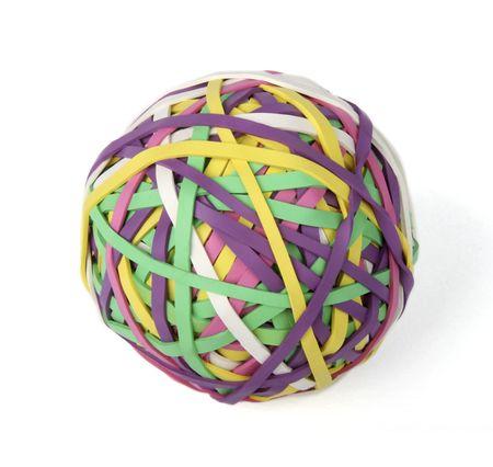 rubberband: Isolated rubberband ball on white background Stock Photo