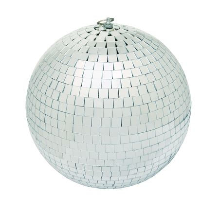 Real disco mirrorball isolated on white background - shot in studio with even lighting Stock Photo