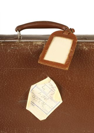 Old and worn retro suitcase close-up with travel nametag photo