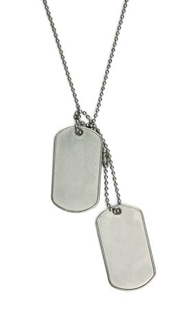 blank army dogtags isolated on white background - insert your own name or message