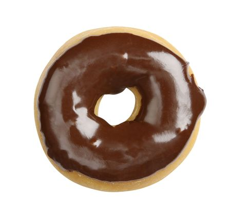 Juicy doughnut with chocolate glacing isolated on white background - shot in studio with 21.1 megapixel camera Stock Photo