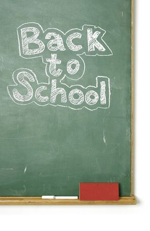 phrase: large XXL image of an old chalkboard with the phrase Back to school written on it