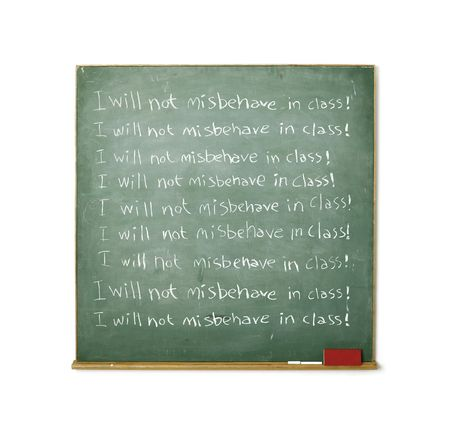 misbehave: Blackboard with the message I will not misbehave in class written on it Stock Photo