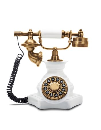 Old fashioned telefonu samodzielnie na białym tle