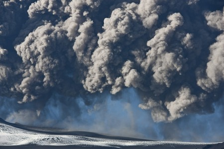 Ash cloud from the Eyjafjallajokull eruption in Iceland photo