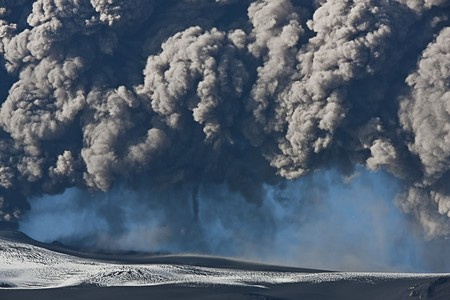 Ash cloud fallout from the Eyjafjallajokull eruption in Iceland