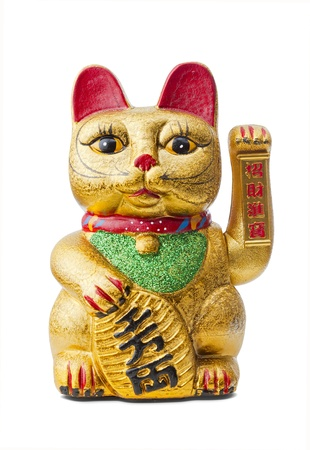 The Maneki Neki is an ancient cultural icon from japan and popular in many asian cultures.  Stock Photo