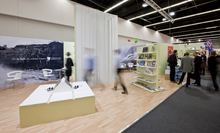 FRANKFURT, GERMANY - OCTOBER 8 2010: Visitors in the Icelandic trade show booth at the Frankfurt Book Fair. Iceland will be the guest of Honour in 2011.