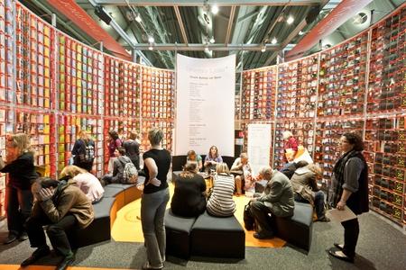 trade fair: FRANKFURT, GERMANY - OCTOBER 8 2010: Visitors at the Frankfurt Book Fair. Editorial