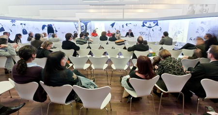 FRANKFURT, GERMANY - OCTOBER 8 2010: Visitors inside the Argentine Guest of Honour Pavilion at the Frankfurt Book Fair. Argentina was the guest of Honour in 2010.