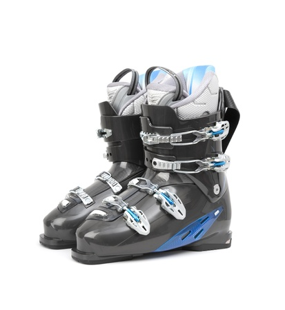 Brand new pair of ski boots isolated on white background Stock Photo