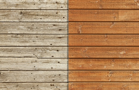 Old and weathered wooden wall against a brand new and varnished wall photo