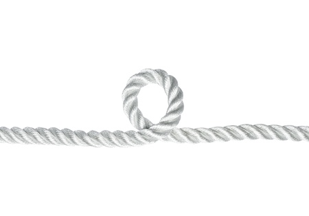 loophole: Nylon rope with a loophole isolated on white