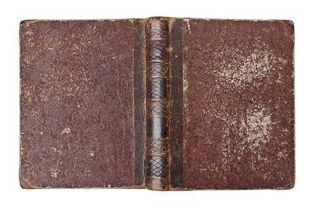 Old book with wear and tear isolated on white background photo