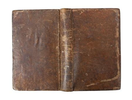 libros antiguos: Antiguo libro con desgaste aislado sobre fondo blanco Foto de archivo