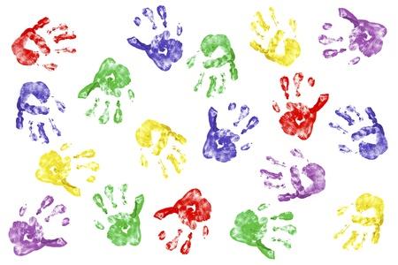 Kids handprints with fingerpaint isolated on white Standard-Bild
