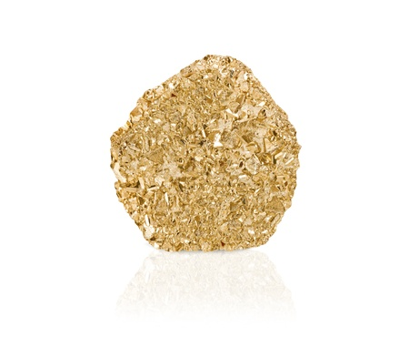 gold rush: Gold nugget isolated with reflection Stock Photo