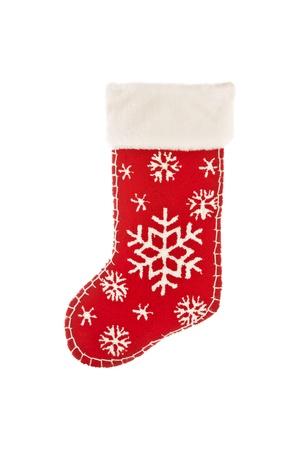 Hand made christmas stocking isolated on white background photo