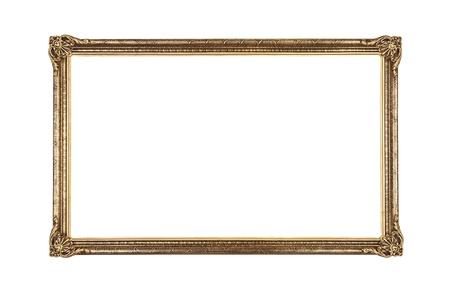 Large golden old fashioned frame isolated on white background