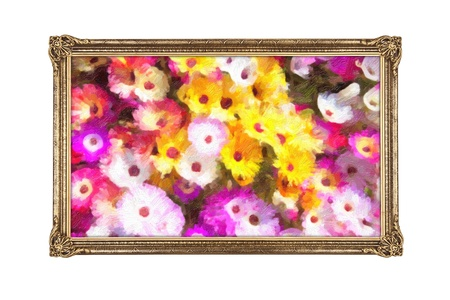 Golden frame with painted colorful flowers - no copyright on artwork