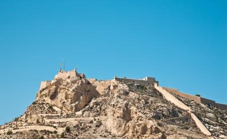 alicante: View of Santa Barbara castle in Alicante, Spain on a beautiful day