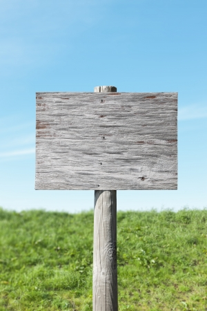 wooden insert: Old wooden sign without a message - insert your own Stock Photo