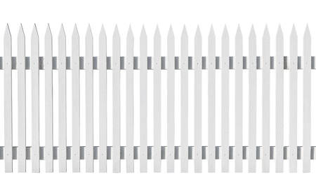 Newly painted picked fence isolated on white background photo