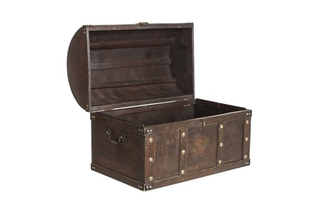 Old antique treasure chest isolated on white background photo