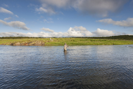 white salmon river: Man fishing for salmon in a beautiful surrounding
