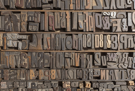 Collection of various wood type letters for printing photo