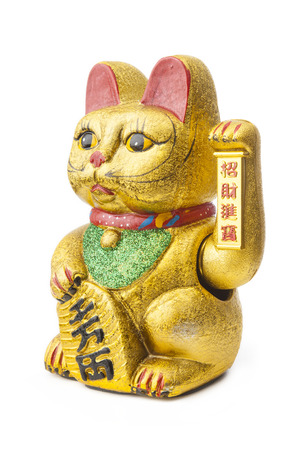instances: The Maneki Neki is an ancient cultural icon from japan and popular in many asian cultures. The welcoming cat supposedly brings great wealth and fortune to its owner. The cat goes by many names in western cultures, for instances;  Welcoming Cat, Lucky Cat, Stock Photo