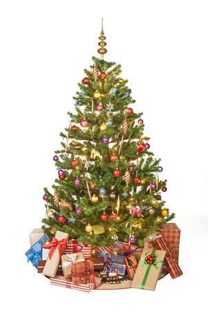 tree isolated: Beautiful christmas tree isolated on white background - studio shot Stock Photo