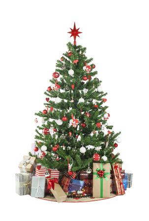 Beautiful christmas tree isolated on white background - studio shot Stock Photo