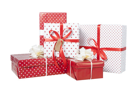 wrapped present: Stack of Christmas gifts isolated on white background