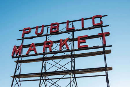 pike place market sign: Sign from the Pike place market in downtown Seattle