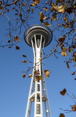 space needle: Seattle Space Needle on a clear autumn day Editorial
