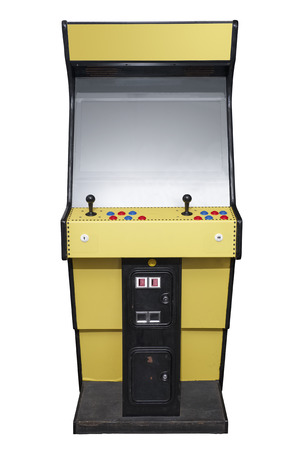 computer games: Vintage arcade video game isolated on white Stock Photo