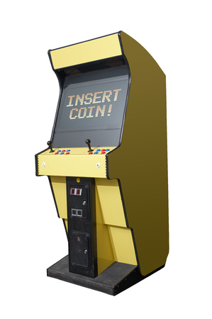 Insert Coin message on a retro arcade isolated on white photo