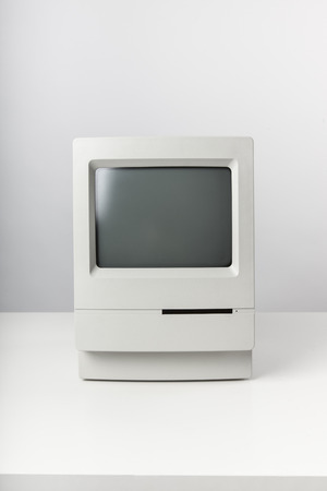 old pc: Still life with a vintage desktop computer