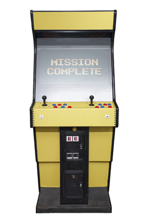 complete: Vintage video game with Mission Complete screen isolated on white Stock Photo